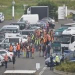 Action des cheminots sur le pont de Normandie le 12 juin 2018 photo n°5