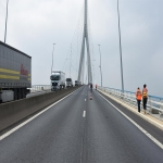 Action des cheminots sur le pont de Normandie le 12 juin 2018 photo n°6