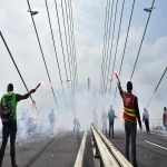 Action des cheminots sur le pont de Normandie le 12 juin 2018 photo n°17