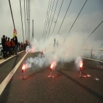 Action des cheminots sur le pont de Normandie le 12 juin 2018 photo n°20
