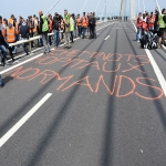 Action des cheminots sur le pont de Normandie le 12 juin 2018 photo n°23
